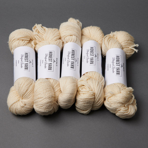 Honest Yarn Blank - Wool BFL Superwash Aran / Natural - 5 pack
