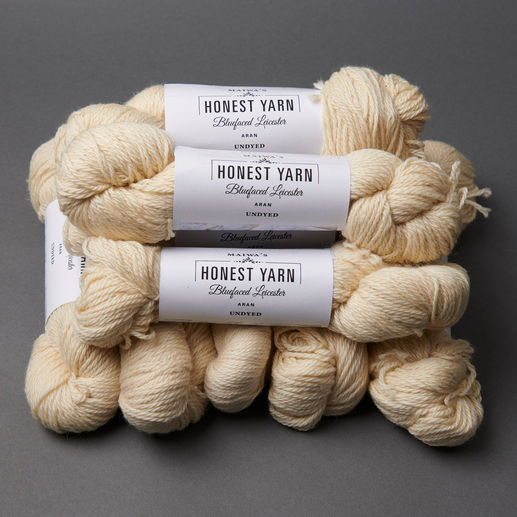 Honest Yarn Blank - Wool BFL Superwash Aran / Natural - 10 pack