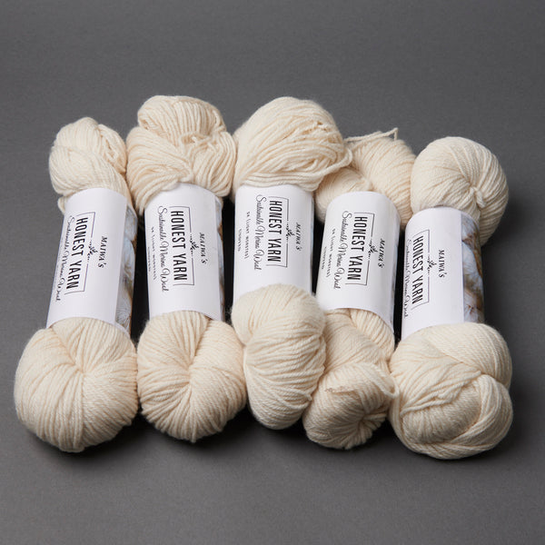 Honest Yarn Blank - Wool Merino DK / White - 5 pack
