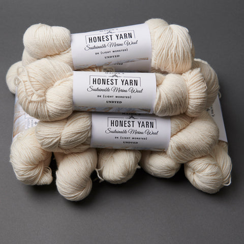 Honest Yarn Blank - Wool Merino DK / White - 10 pack