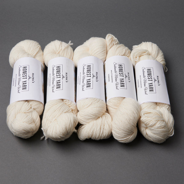 Honest Yarn Blank - Wool Merino Fingering / White - 5 pack