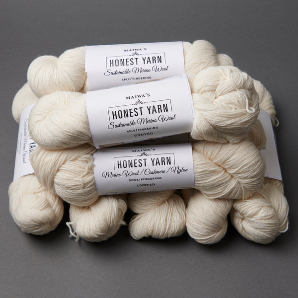 Honest Yarn Blank - Wool Merino Fingering / White - 10 pack