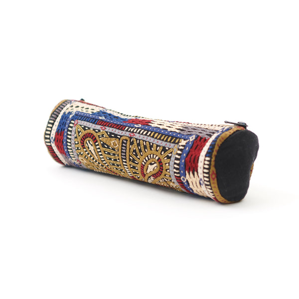 Kachchh Embroidery - Cylinder Pouch - Dhebaria Pattern B