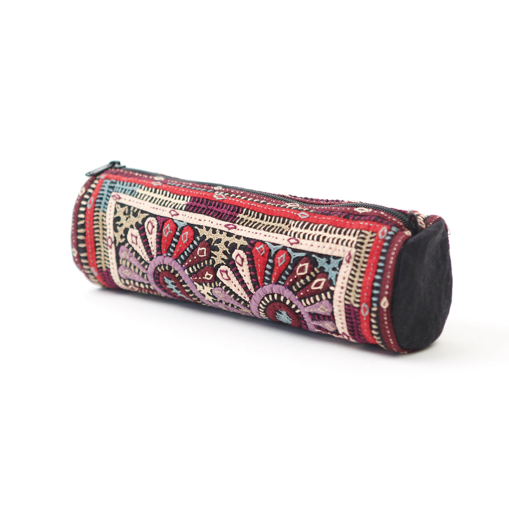 Kachchh Embroidery - Cylinder Pouch - Dhebaria Pattern E