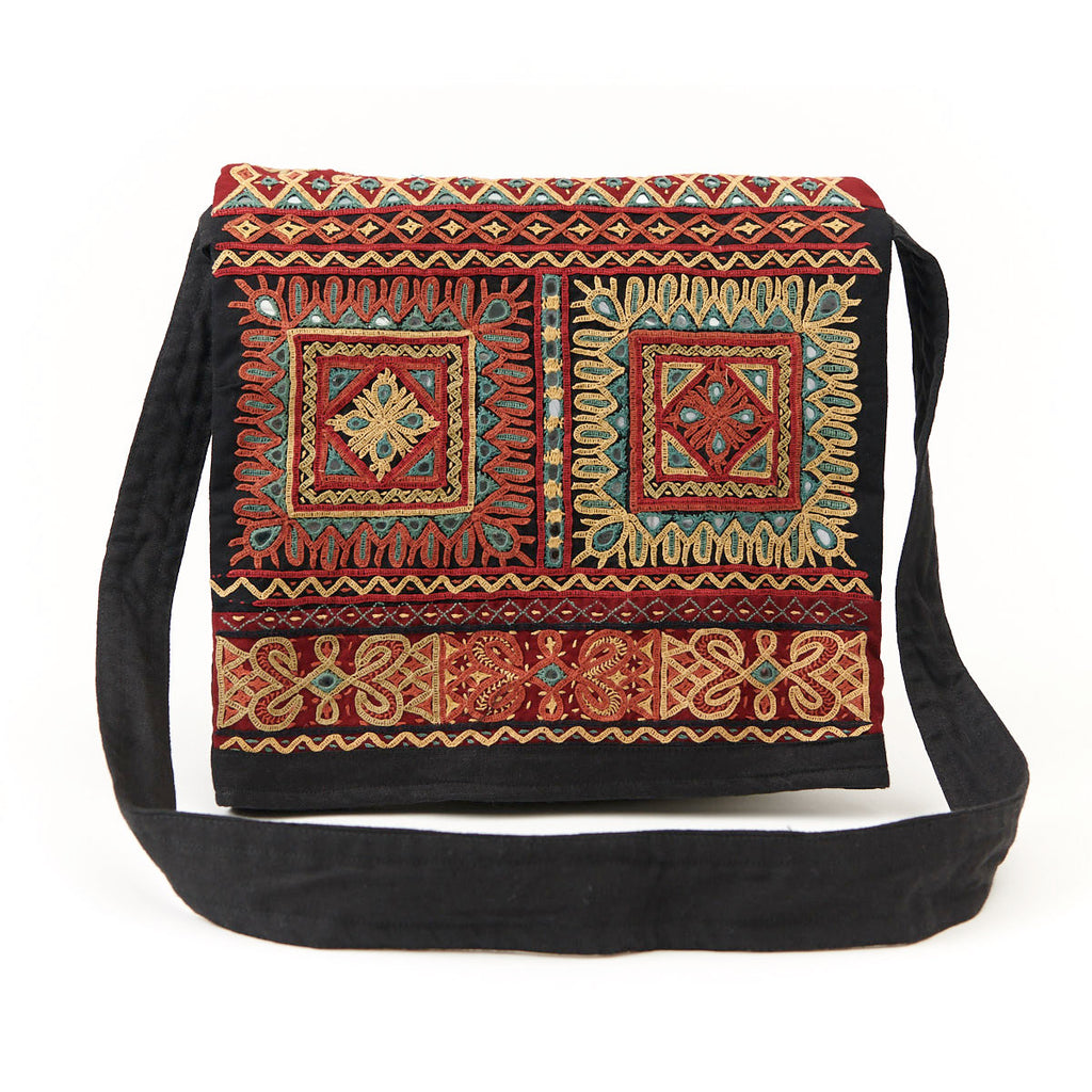Kachchh Embroidery - Rabari Shoulder Bag with Foldover Top - Pattern 4