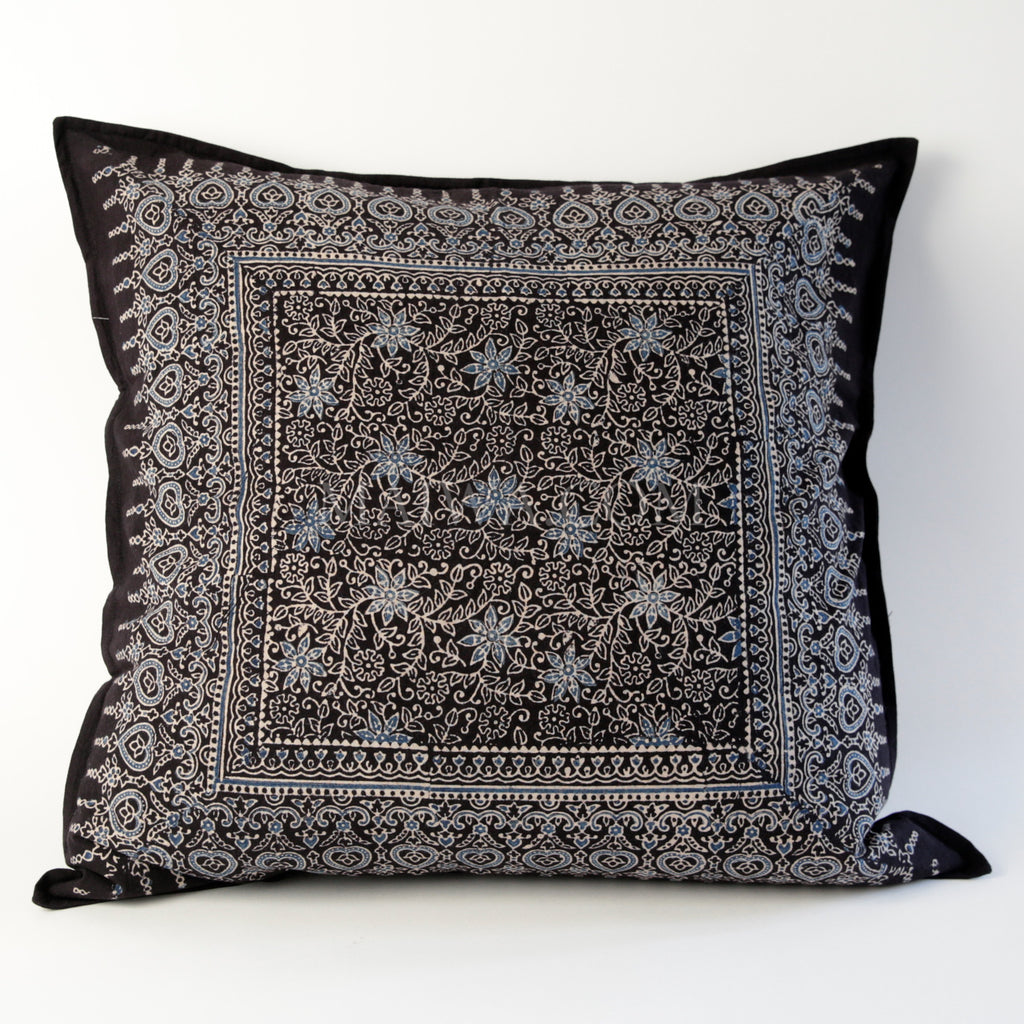 Organic Cotton Cushion Cover - Ajrakh Flower