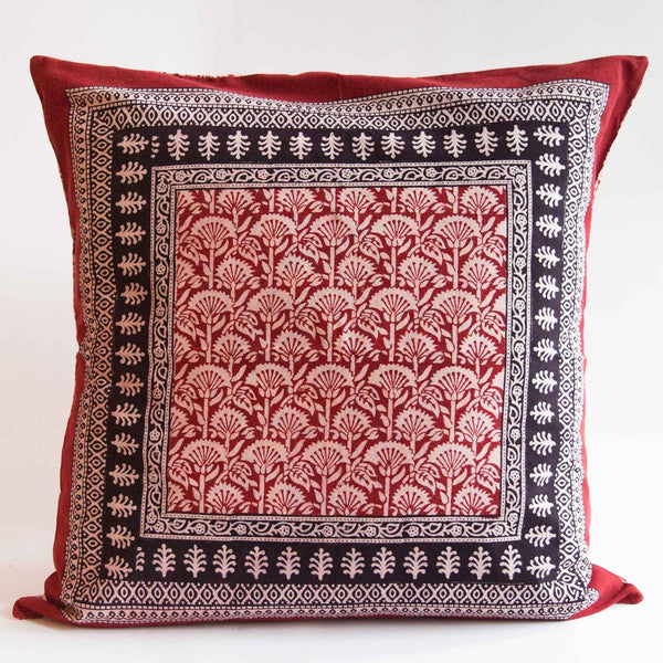 Organic Cotton Cushion Cover - Bagh Print - Red Rustic Palm