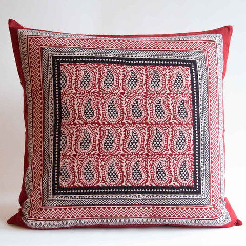 Organic Cotton Cushion Cover - Bagh Print - Red Mango Paisley