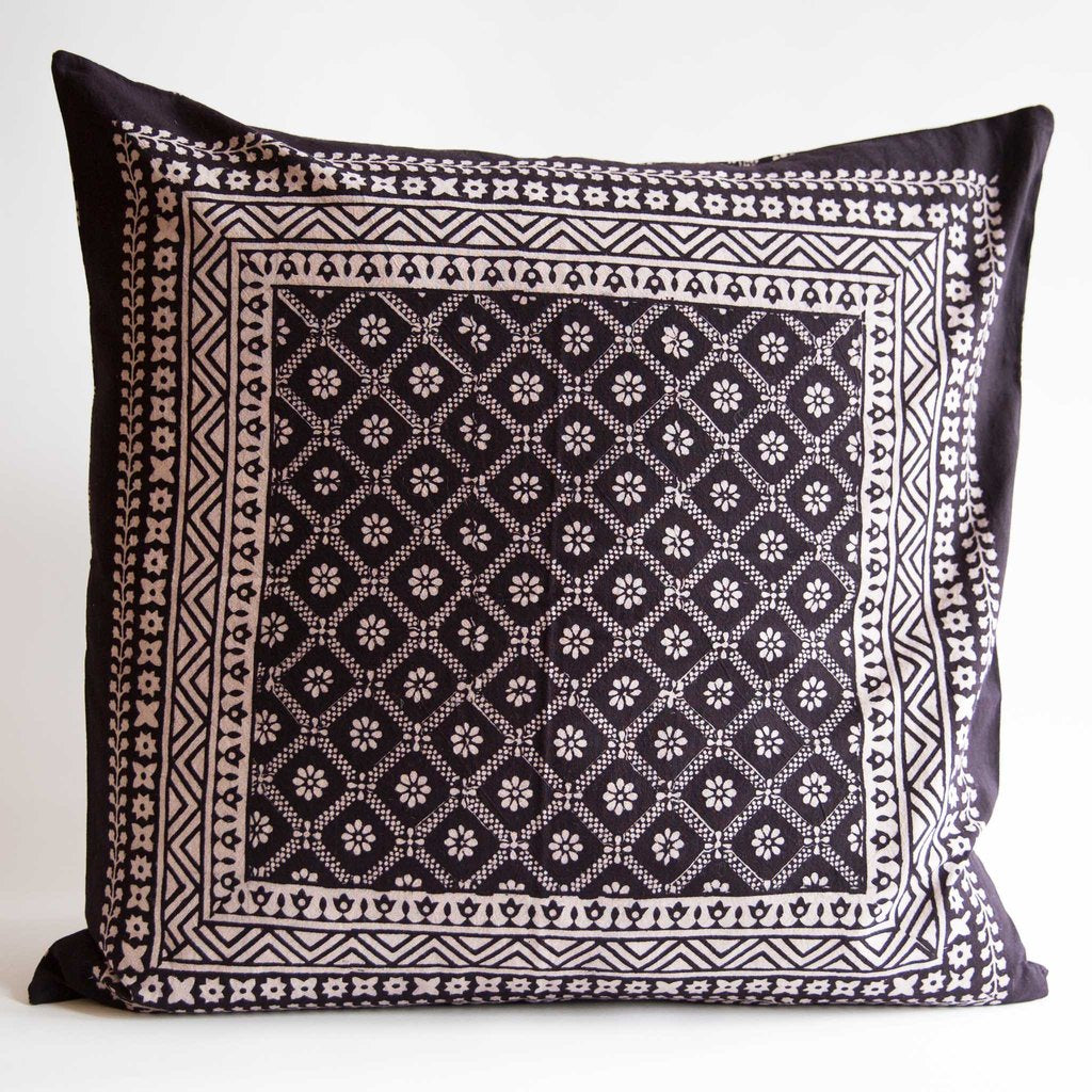 Organic Cotton Cushion Cover - Bagh Print - Diamond Daisy