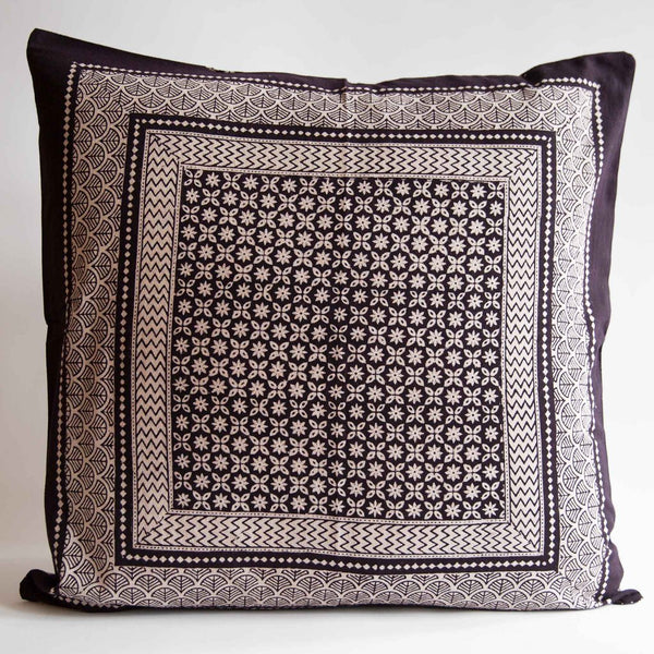 Organic Cotton Cushion Cover - Bagh Print - Star Anise
