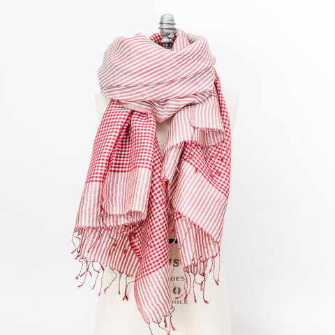 Fine Silk Shawl - Crimson