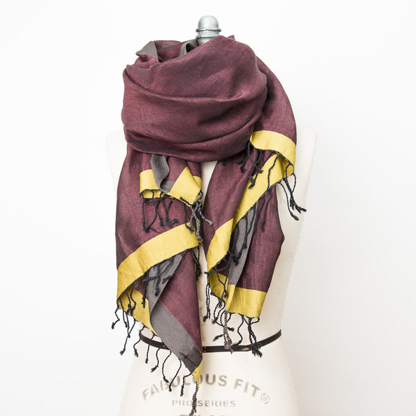 Bold Border Cotton & Linen Shawl - Aubergine Lime Charcoal