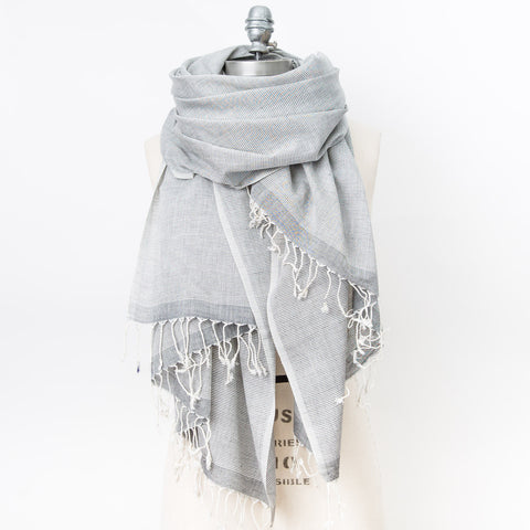 Classic Cotton Shawl - Heather Grey