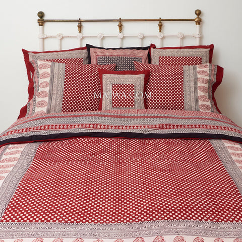 Organic Cotton Queen Duvet - Bagh Print - Red & White Dot
