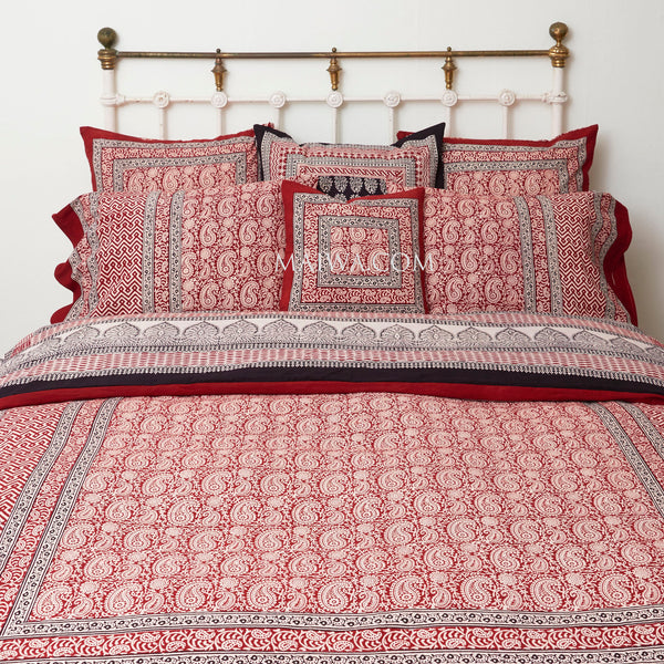 Organic Cotton King Duvet - Bagh Print - Red Paisley