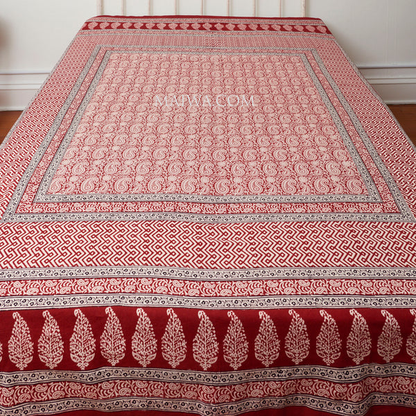 Organic Cotton Queen Sheet - Red Paisley