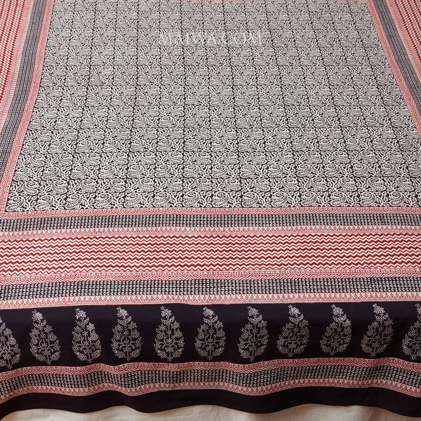 Organic Cotton Rectangular Tablecloth - Bagh Print - Stylized Paisley