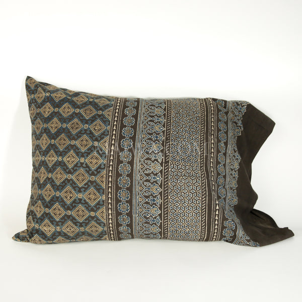 Organic Cotton Pillow Case - Ajrakh Diamond