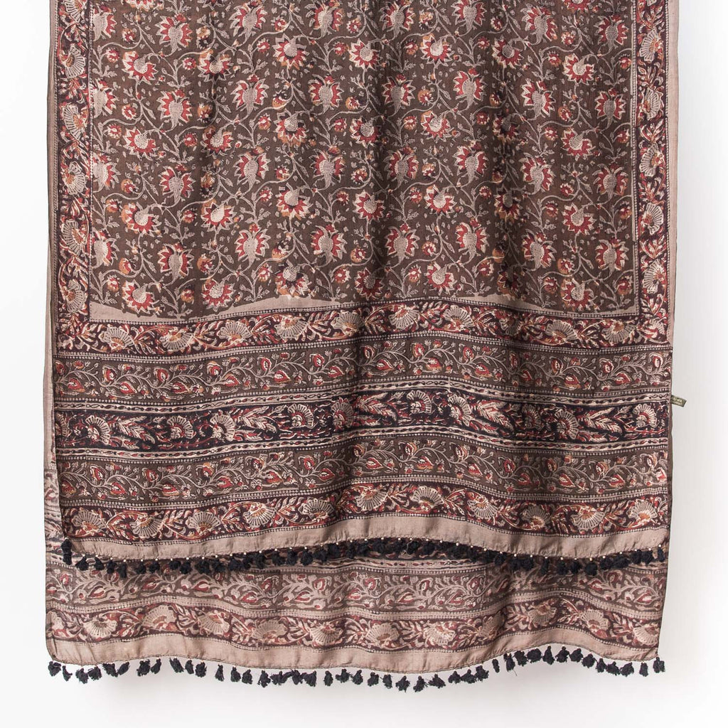 Dabu - Silk Cotton Shawl - Floral Slate