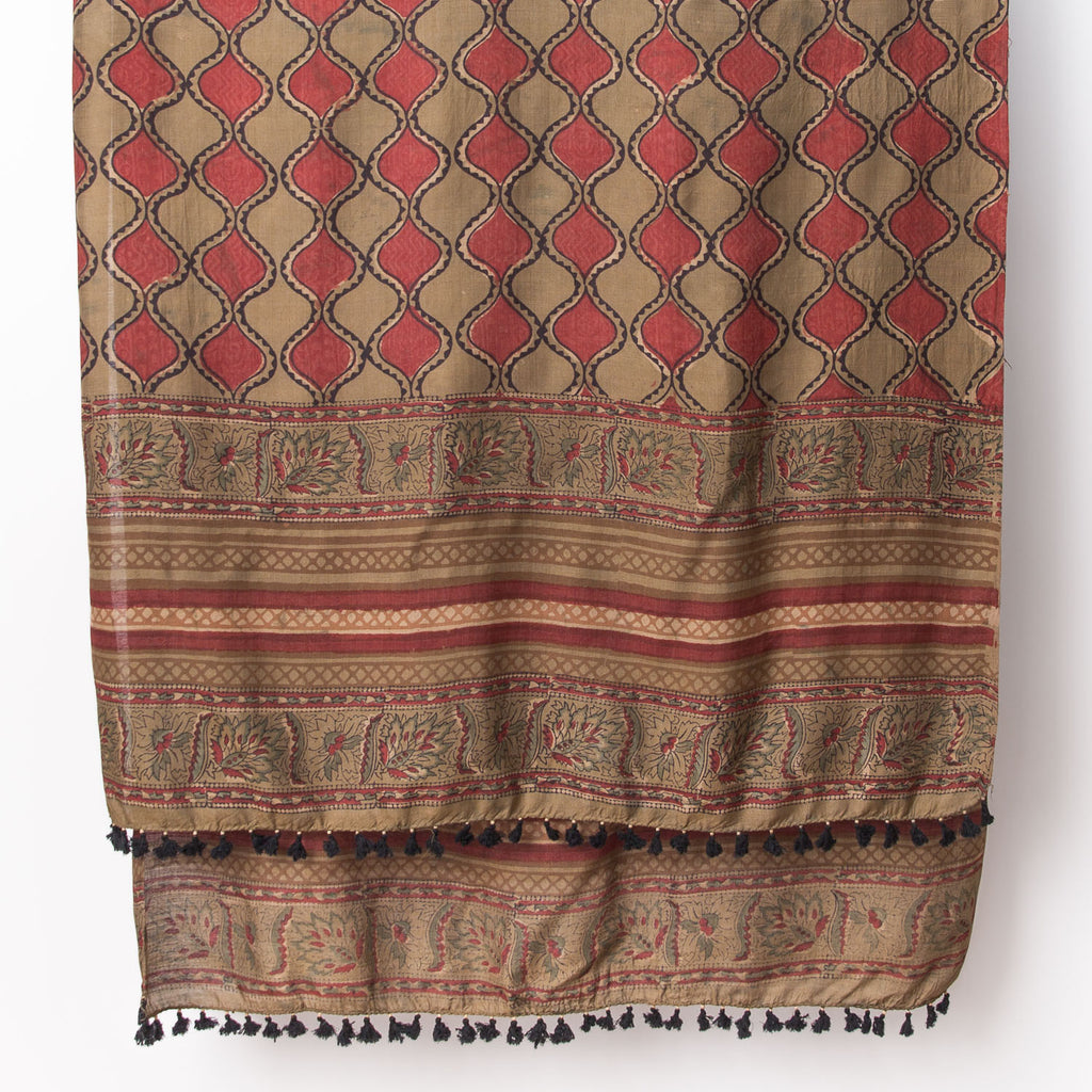 Dabu - Silk Cotton Shawl - Sage & Madder