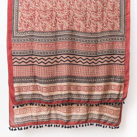 Dabu - Silk Cotton Shawl - Madder & Sand