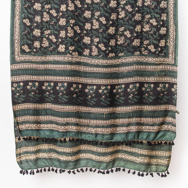 Dabu - Silk Cotton Shawl - Emerald & Iron