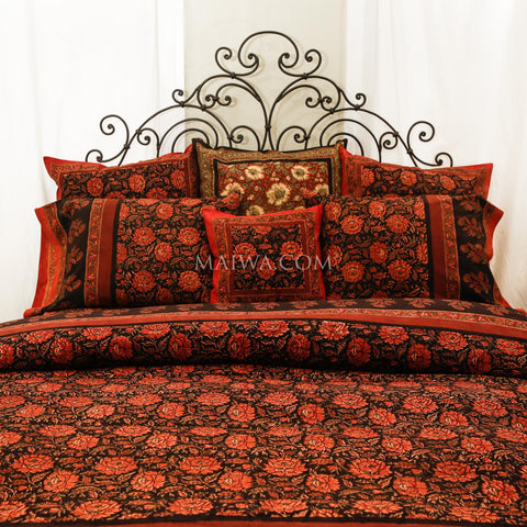 Queen Duvet Dabu Print Deep Rose