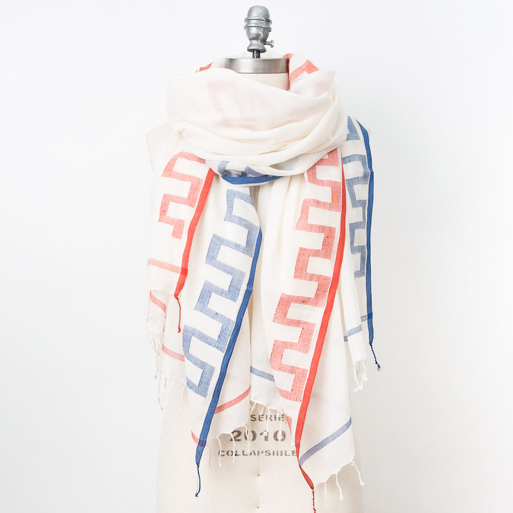 Jamdani Geometric Cotton Scarf - Red & Blue