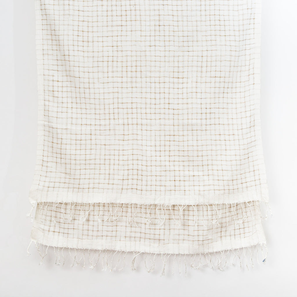 Undulating Ikat Cotton Scarf - Sand on Natural