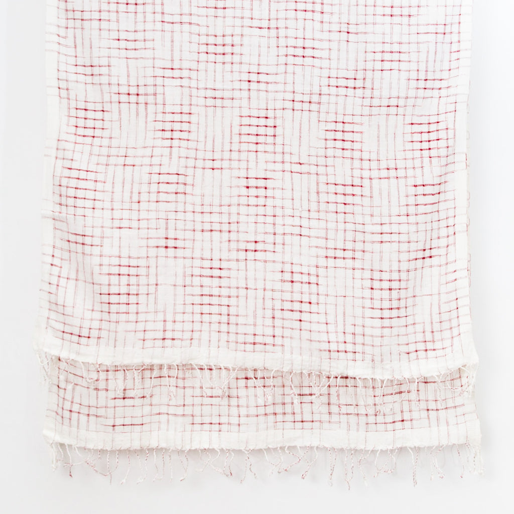 Undulating Ikat Cotton Scarf - Red on Natural