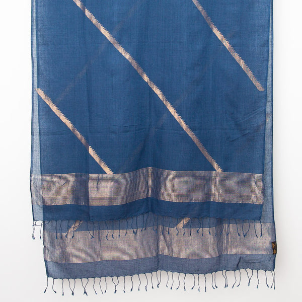 Indigo & Gold Jamdani Cotton Scarf - Diagonal