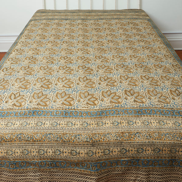 Organic Cotton Queen Sheet - Kalamkari - Indigo Ochre Bloom