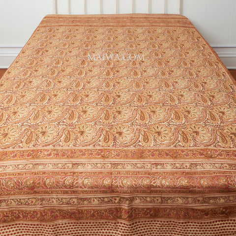 Organic Cotton King Sheet - Kalamkari - Desert Blossom