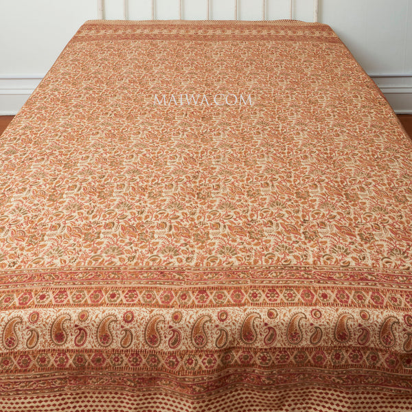Organic Cotton Queen Sheet - Kalamkari - Desert Flower