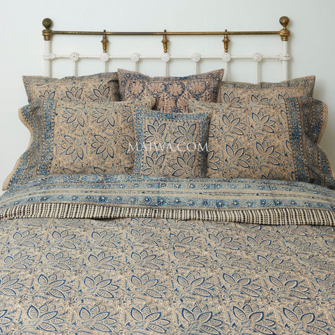 Organic Cotton Queen Duvet - Kalamkari - Indigo Bloom