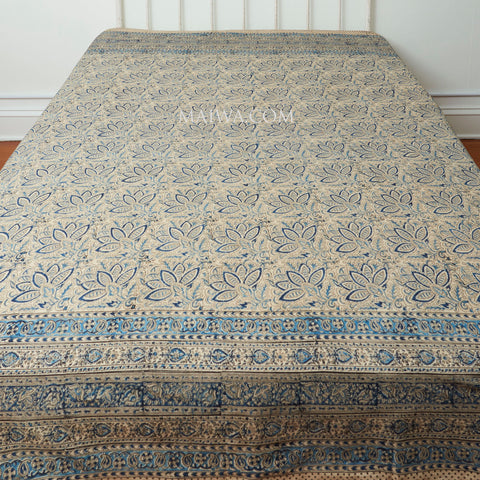 Organic Cotton King Sheet - Kalamkari - Indigo Bloom