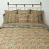 Organic Cotton King Duvet - Kalamkari - Indigo Ochre Bloom