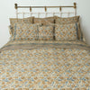 Organic Cotton King Duvet - Indigo Ochre Leaf
