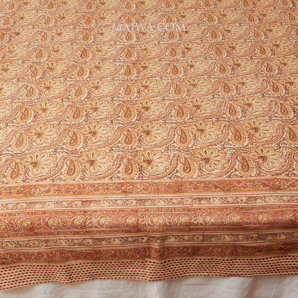 Organic Cotton Rectangular Tablecloth - Kalamkari - Desert Blossom