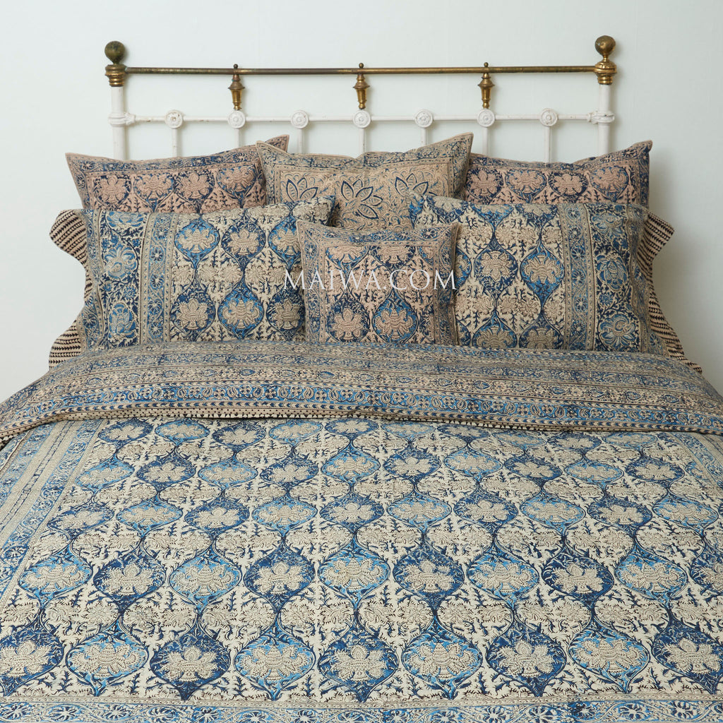 Organic Cotton Queen Duvet - Kalamkari - Indigo Palm