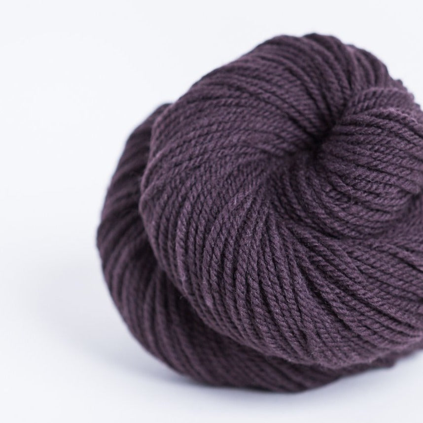 Brookly Tweed Black Fig brown Arbor 3-ply wool DK weight yarn, worsted spun American Targhee