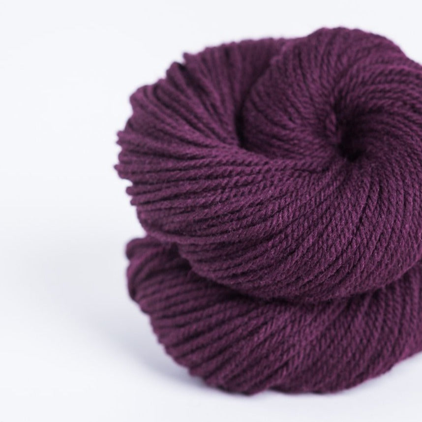 Brookly Tweed Cobbler aubergine Arbor 3-ply wool DK weight yarn, worsted spun American Targhee