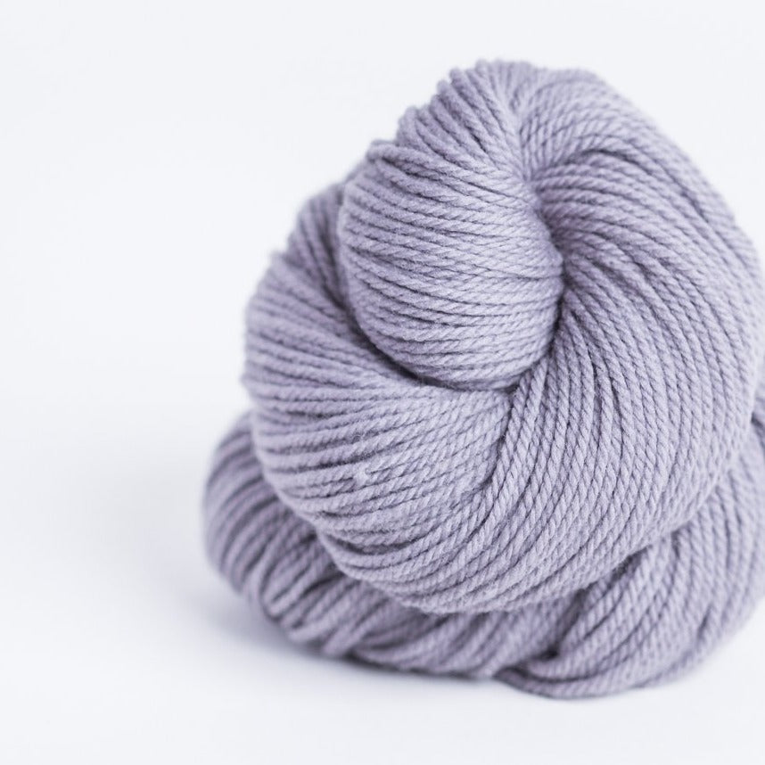Brookly Tweed Morandi grey Arbor 3-ply wool DK weight yarn, worsted spun American Targhee