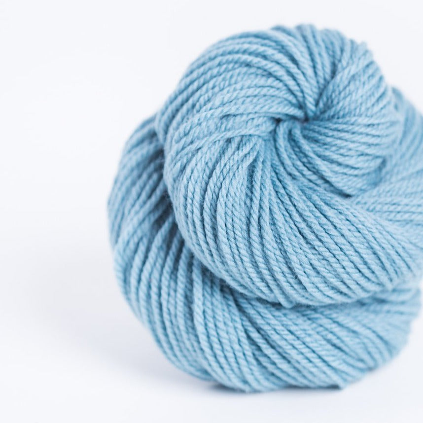 Brookly Tweed Rainier blue Arbor 3-ply wool DK weight yarn, worsted spun American Targhee