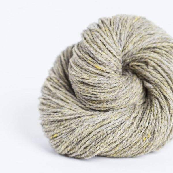 Brooklyn Tweed Foothills grey 2-ply fingering weight yarn, wool spun from Targhee-Columbia wool