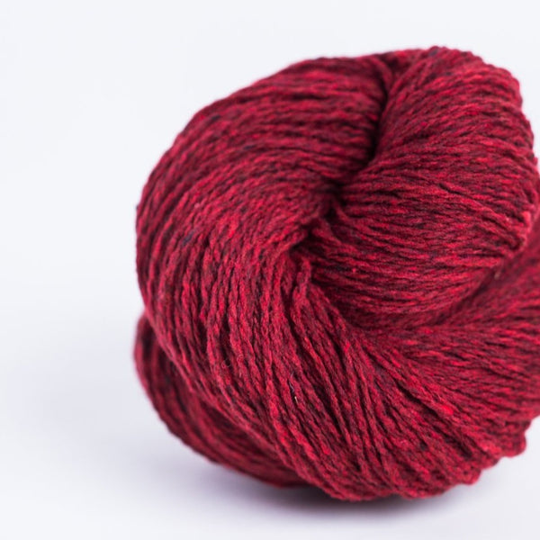 Brooklyn Tweed Long John's red 2-ply fingering weight yarn, wool spun from Targhee-Columbia wool