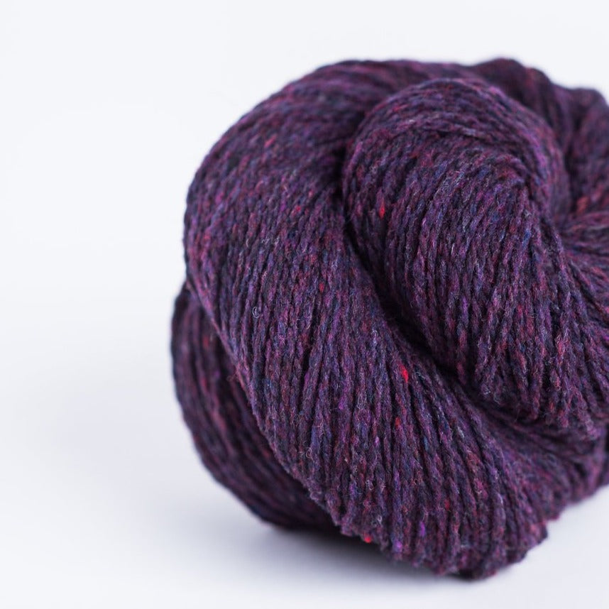 Brooklyn Tweed Plume purple 2-ply fingering weight yarn, wool spun from Targhee-Columbia wool