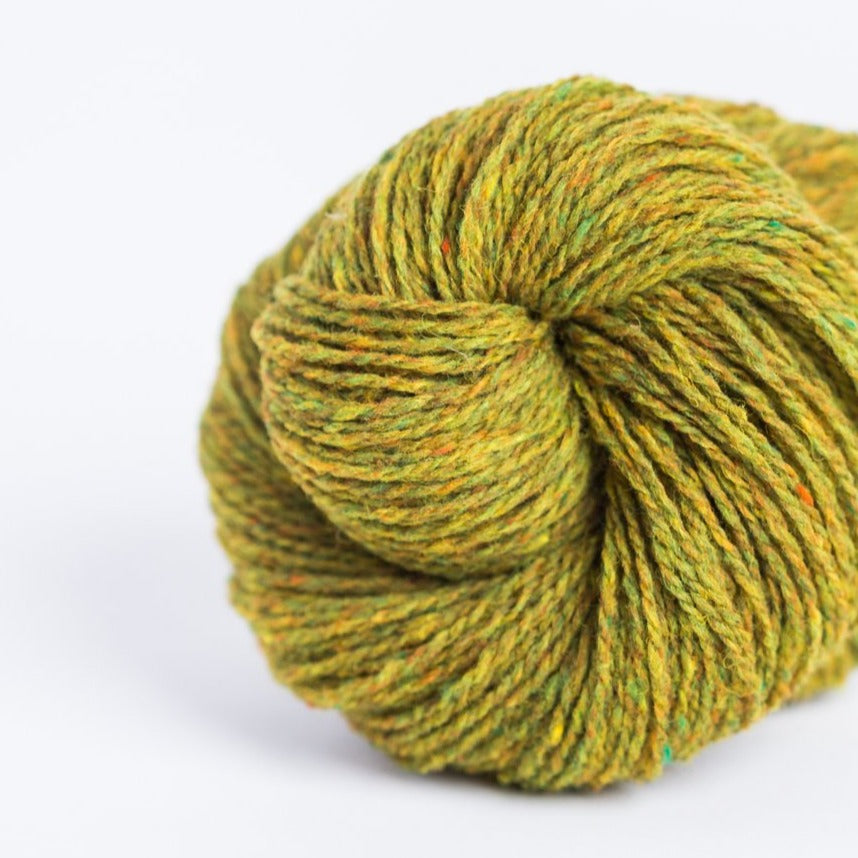 Brooklyn Tweed Sap green 2-ply fingering weight yarn, wool spun from Targhee-Columbia wool