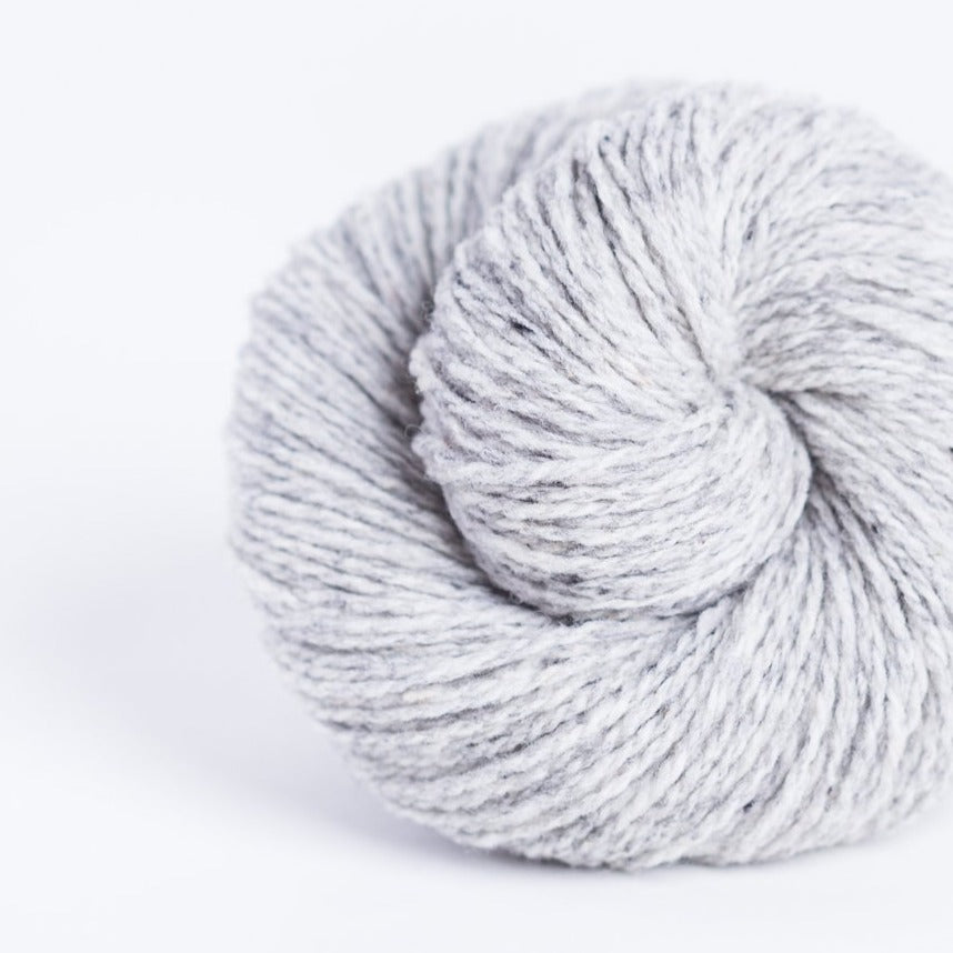 Brooklyn Tweed Snowbound grey 2-ply fingering weight yarn, wool spun from Targhee-Columbia wool