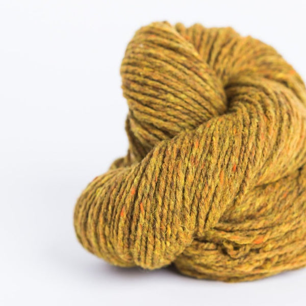 Brooklyn Tweed mustard 2-ply worsted-weight yarn made with American Targhee-Columbia wool